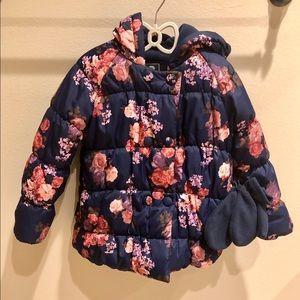 Girl's Flower Puffer Jacket